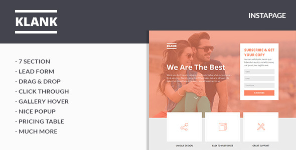 ThemeForest Klank Instapage Landing Page 10706855