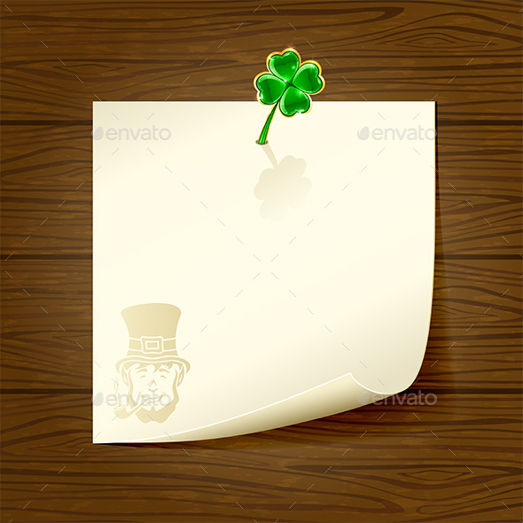 GraphicRiver Wooden Background with Paper and Clover 10706907