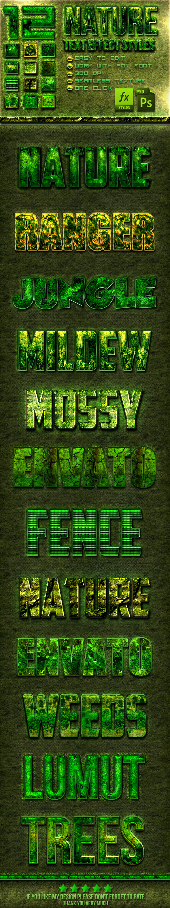 GraphicRiver 12 Nature Photoshop Text Effect Styles 10707258