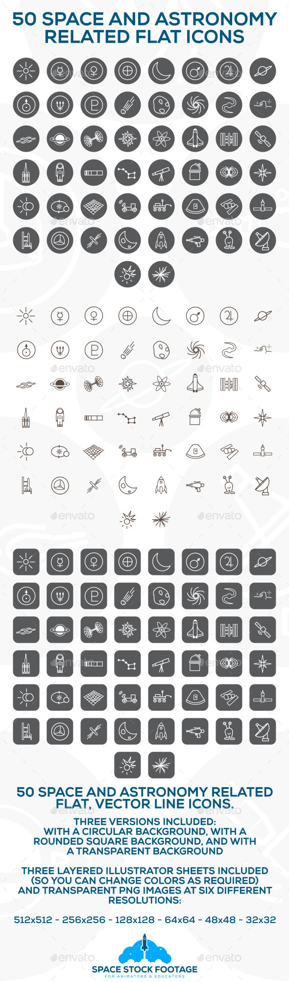 GraphicRiver Space and Astronomy Icons 10707569