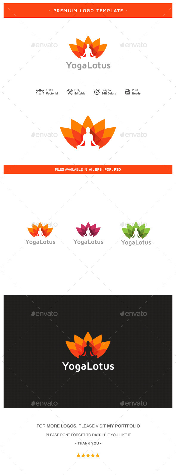 GraphicRiver Yoga Lotus Logo Template 10707706