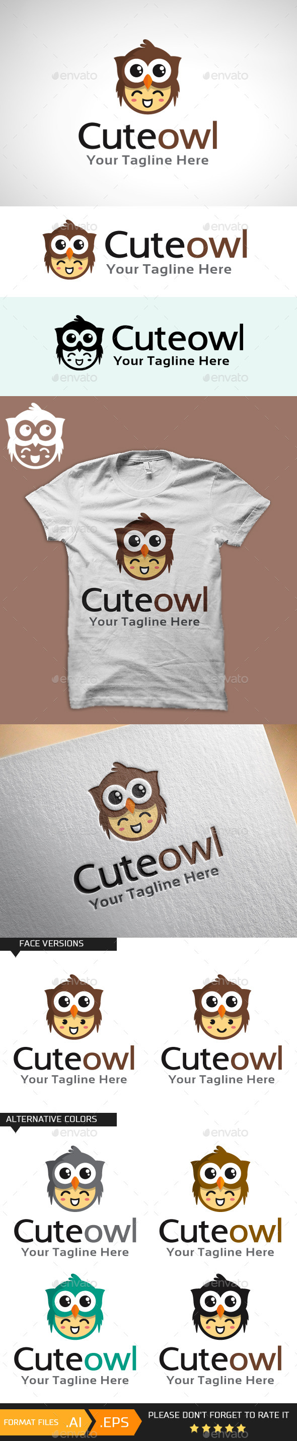 GraphicRiver Cute Owl Logo Template 10707716
