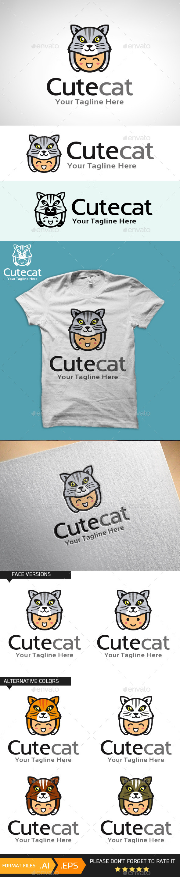 GraphicRiver Cute Cat Logo Template 10707721