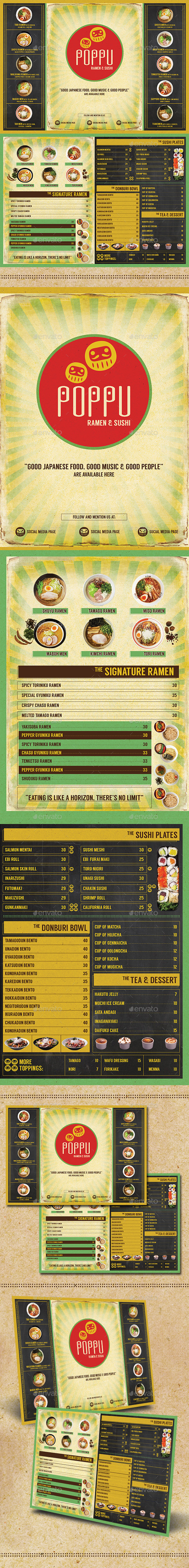 GraphicRiver Japanese Bistro Menu Card 10707792