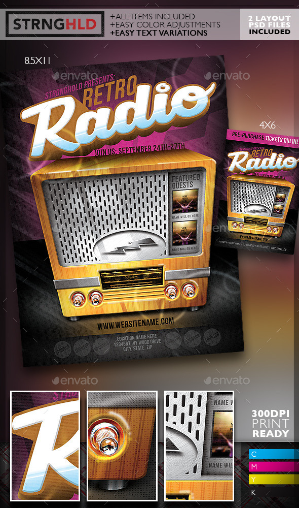 GraphicRiver Retro Radio Event Flyer Template 10708112