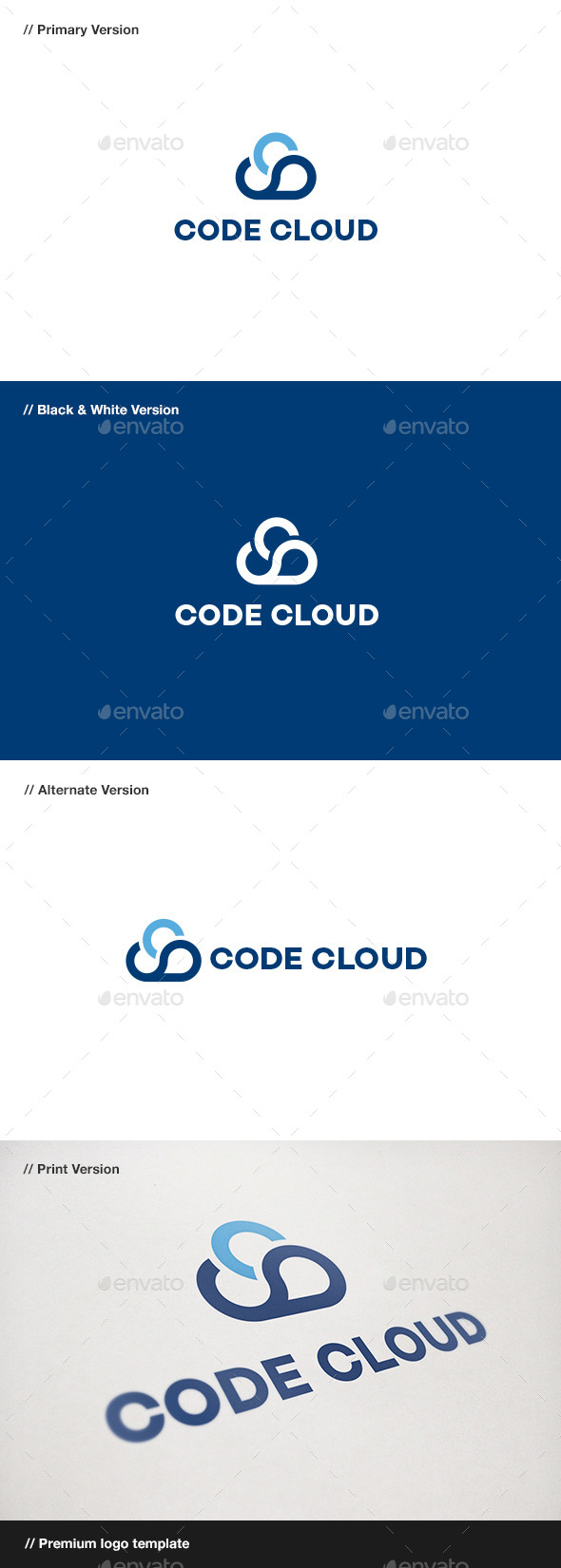 GraphicRiver Code Cloud Logo 10713316