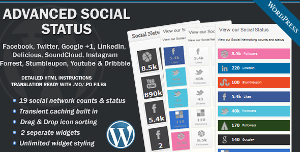 Advanced Social Status WordPress Social Counter - CodeCanyon Item for Sale
