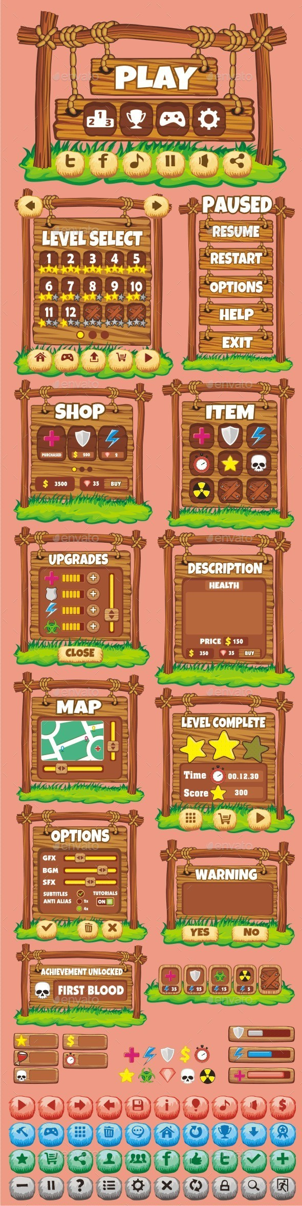 GraphicRiver cartoon game gui pack 20 10713924