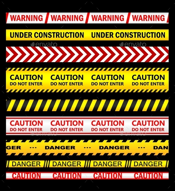 GraphicRiver Warning and Caution Tapes 10714017