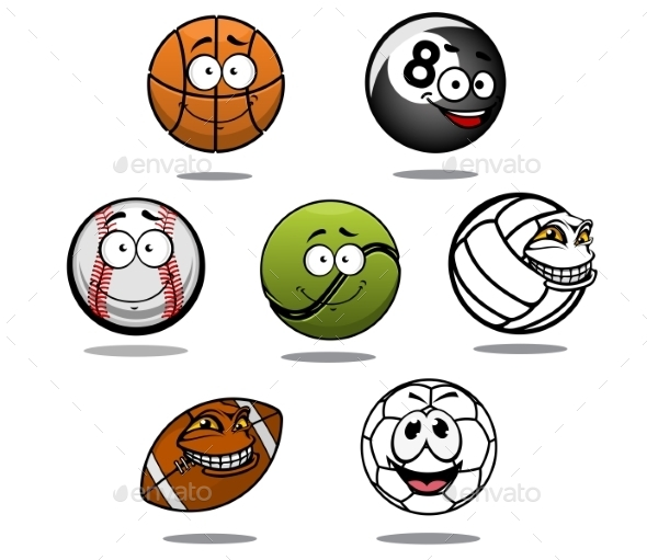 GraphicRiver Cartoon Sport Ball Characters 10714021