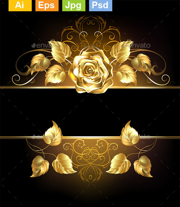 GraphicRiver Banner with Golden Rose 10714144