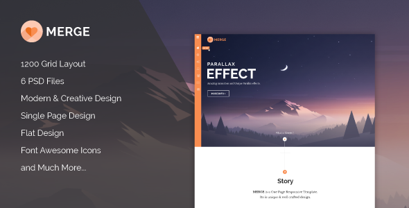 ThemeForest Merge Multipurpose Single Page PSD Theme 10714235