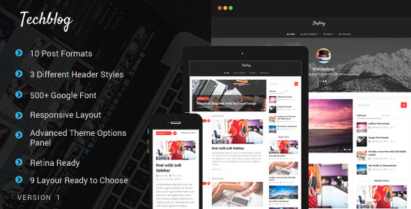 ThemeForest TechBlaze Professional WordPress Blog Theme 10714303