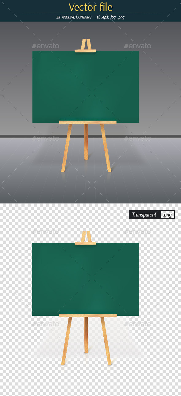 GraphicRiver Tripod with Green Blank Board 10714467