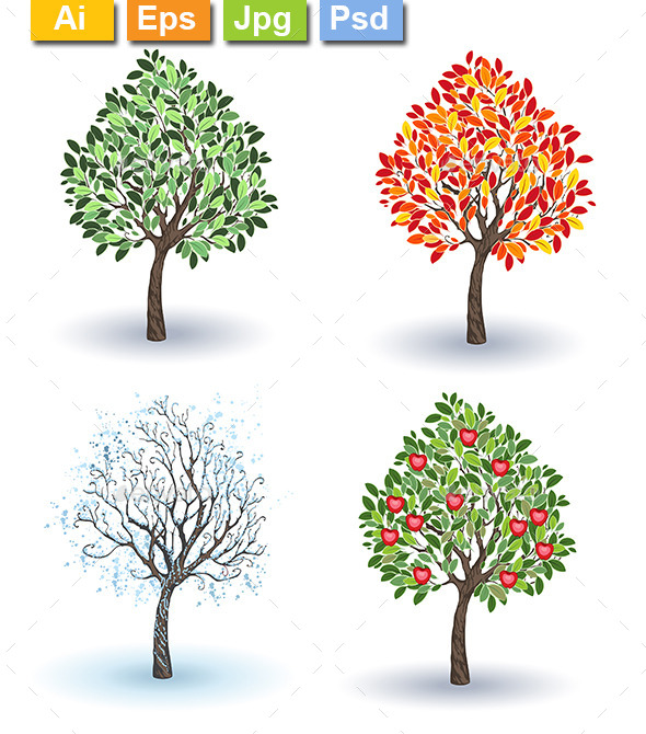 GraphicRiver Set of Apple Trees 10714551