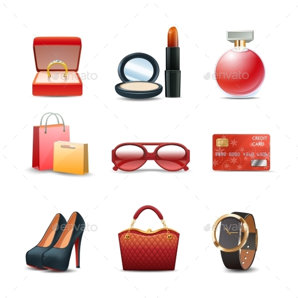 GraphicRiver Women Shopping Icon Set 10714574