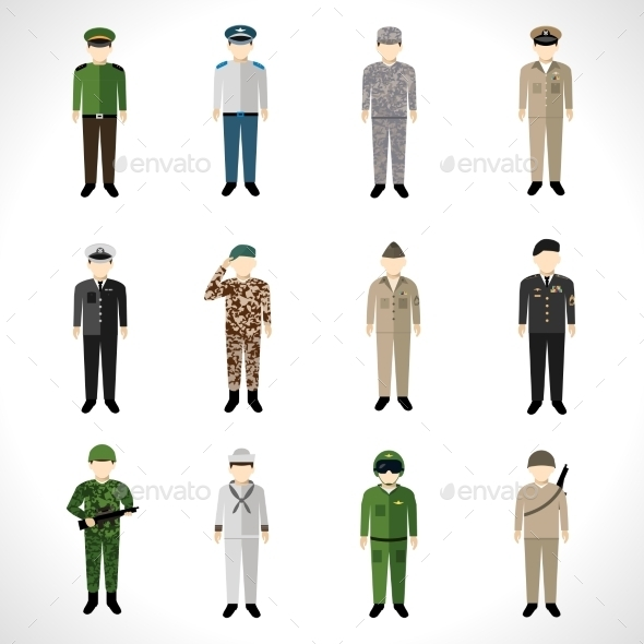 GraphicRiver Military Avatars Set 10714612