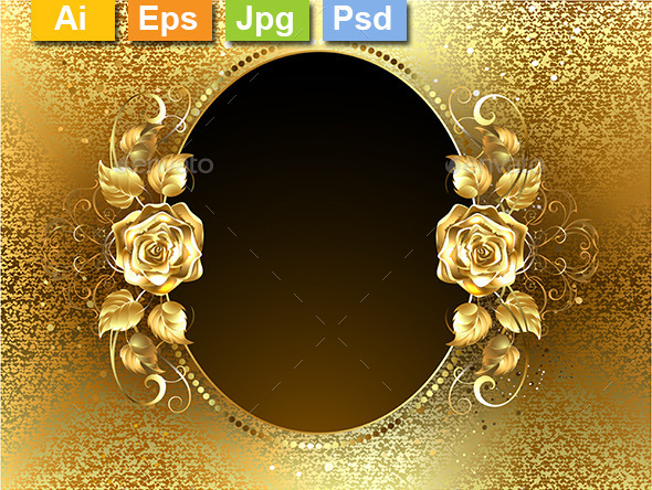 GraphicRiver Oval Banner with Golden Roses 10714853