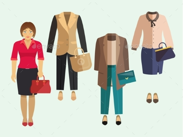 GraphicRiver Business Woman Clothes Set 10714897