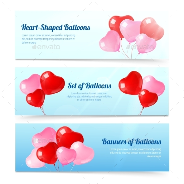 GraphicRiver Heart Balloon Banners 10714953