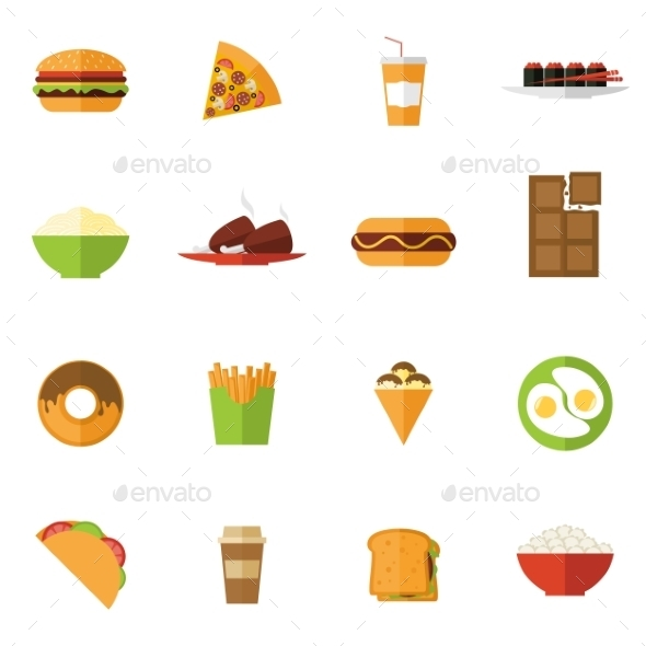 GraphicRiver Fast Food Icons Set 10714954
