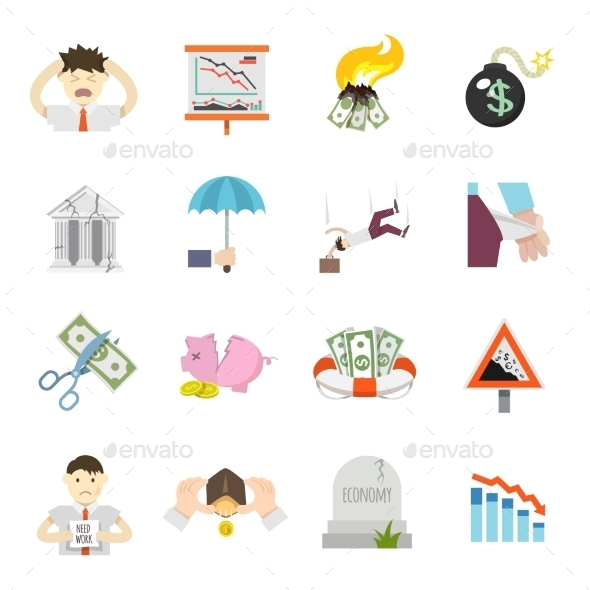 GraphicRiver Economic Crisis Flat Icons 10715042