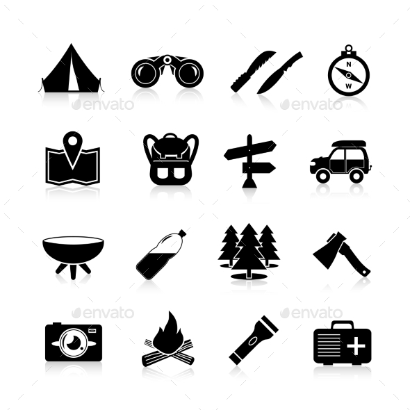 GraphicRiver Camping Icons Black 10715143