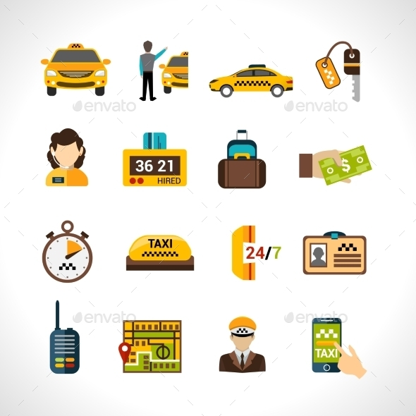 GraphicRiver Taxi Icons Set 10715181