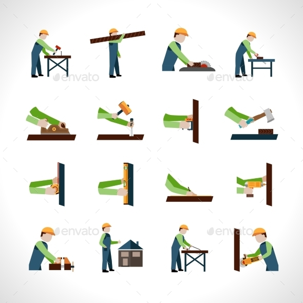 GraphicRiver Carpenter Icons Set 10715185