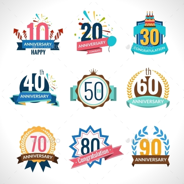 GraphicRiver Anniversary Emblems Set 10715244