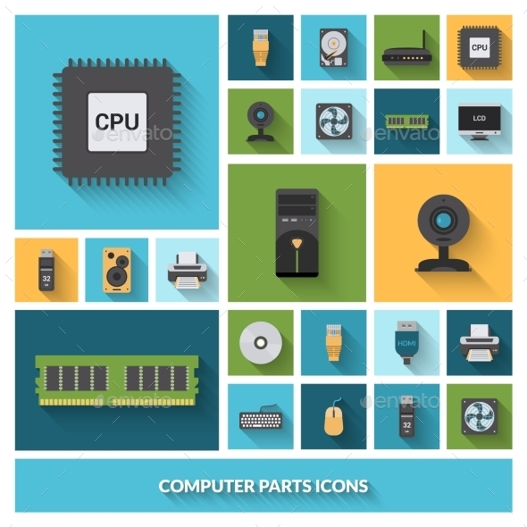 GraphicRiver Computer Parts Decorative Icons Set 10715246