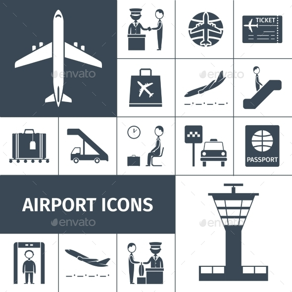 GraphicRiver Airport Icons Black Set 10715379