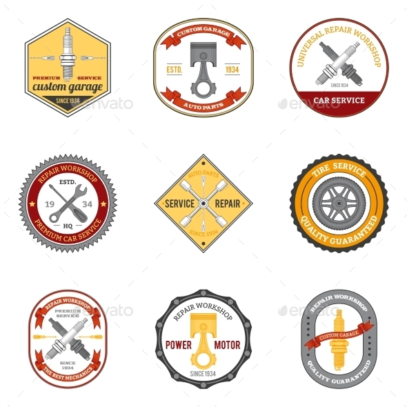GraphicRiver Repair Workshop Emblems Colored 10715381