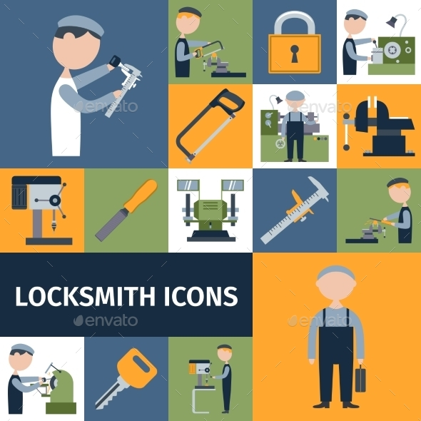 GraphicRiver Locksmith Icons Set 10715382