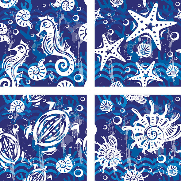 GraphicRiver Seamless Patterns with Sea Symbols 10715383