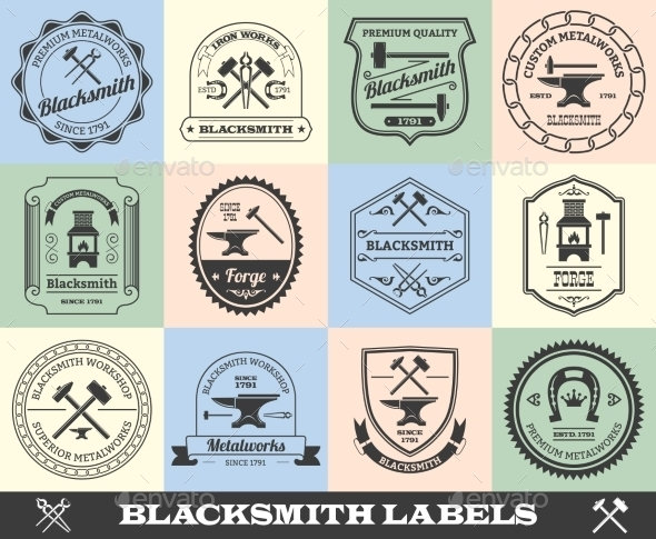 GraphicRiver Blacksmith Label Set 10715386