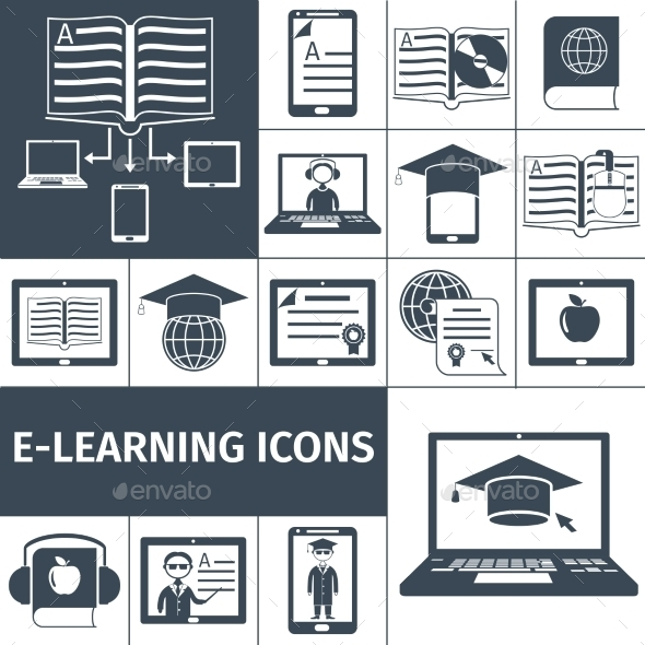 GraphicRiver E-learning Icon Black Set 10715392