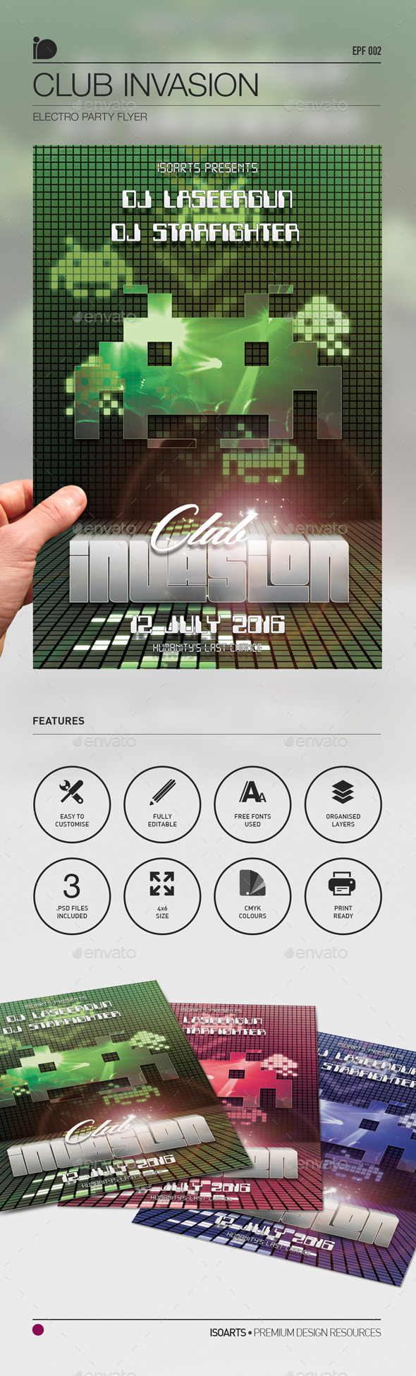 Electro Party Flyer • Club Invaders - Clubs & Parties Events