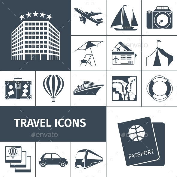 GraphicRiver Travel Icons Black Set 10715478