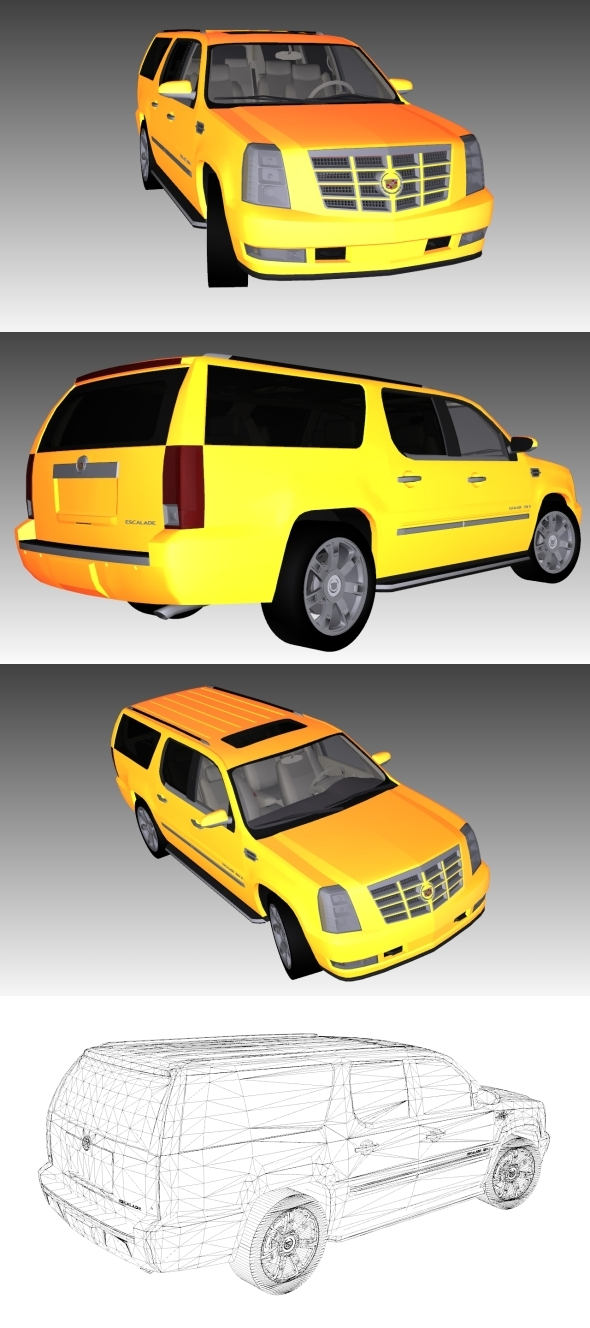 Low Poly Cadillac-Escalade - 3DOcean Item for Sale