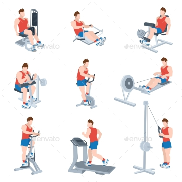 GraphicRiver Exercise Machines Set 10715484