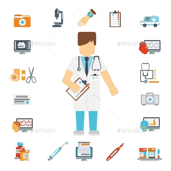 GraphicRiver Doctor Set Flat 10715491