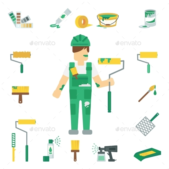 GraphicRiver House Painter Flat Set 10715493