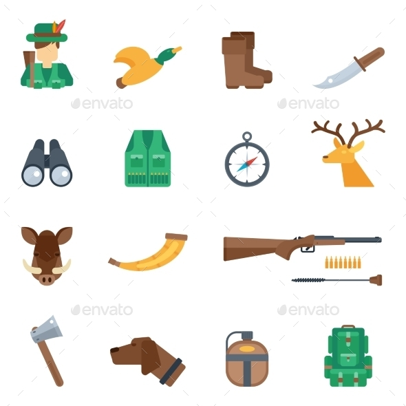 GraphicRiver Hunting Icons Set 10715537