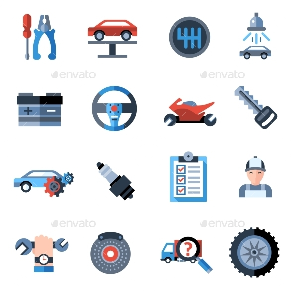 GraphicRiver Car Repair Icons 10715539