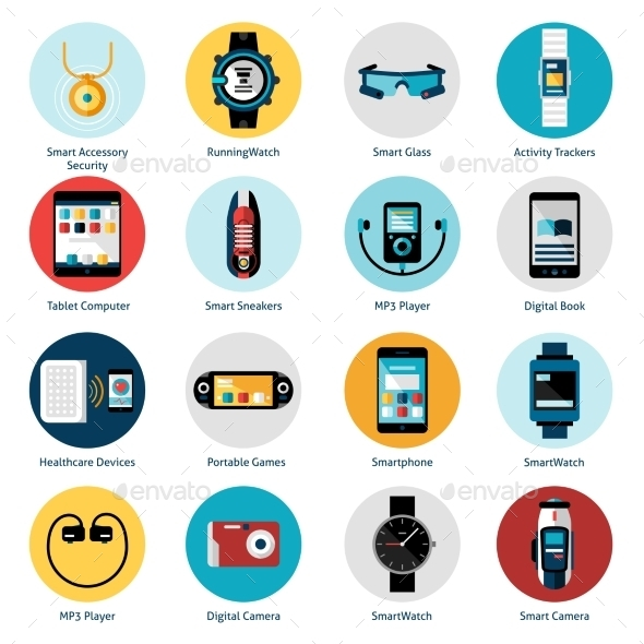 GraphicRiver Wearable Technology Icons 10715543