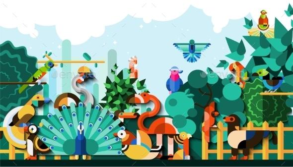 GraphicRiver Exotic Birds Background 10715544
