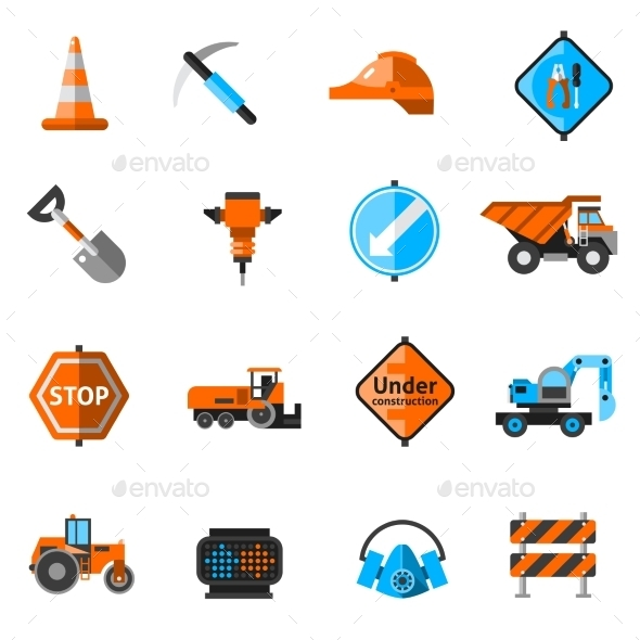 GraphicRiver Road Repair Icons 10715552