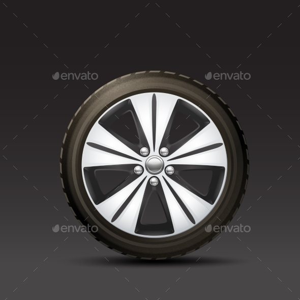 GraphicRiver Car Wheel Black Background 10715557