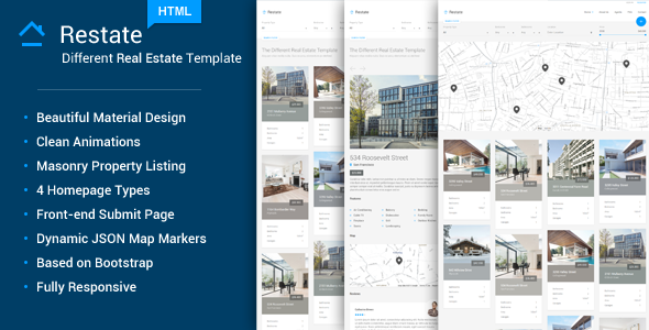 ThemeForest Restate Different Real Estate Material Template 10675133